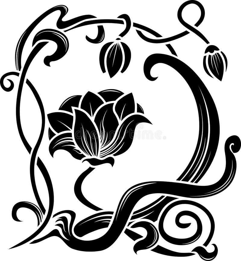 Estêncil da flor ilustração royalty free