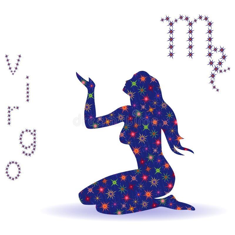 Estêncil da Virgem do sinal do zodíaco ilustração royalty free