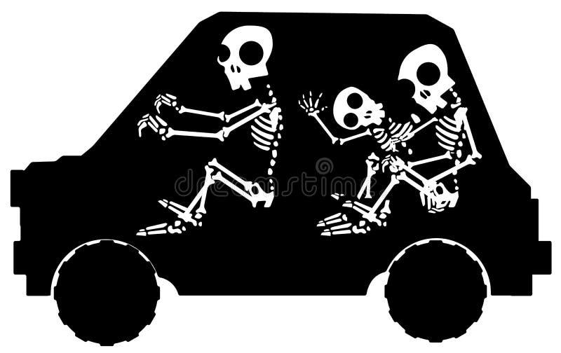 Estêncil de esqueleto do carro ilustração royalty free
