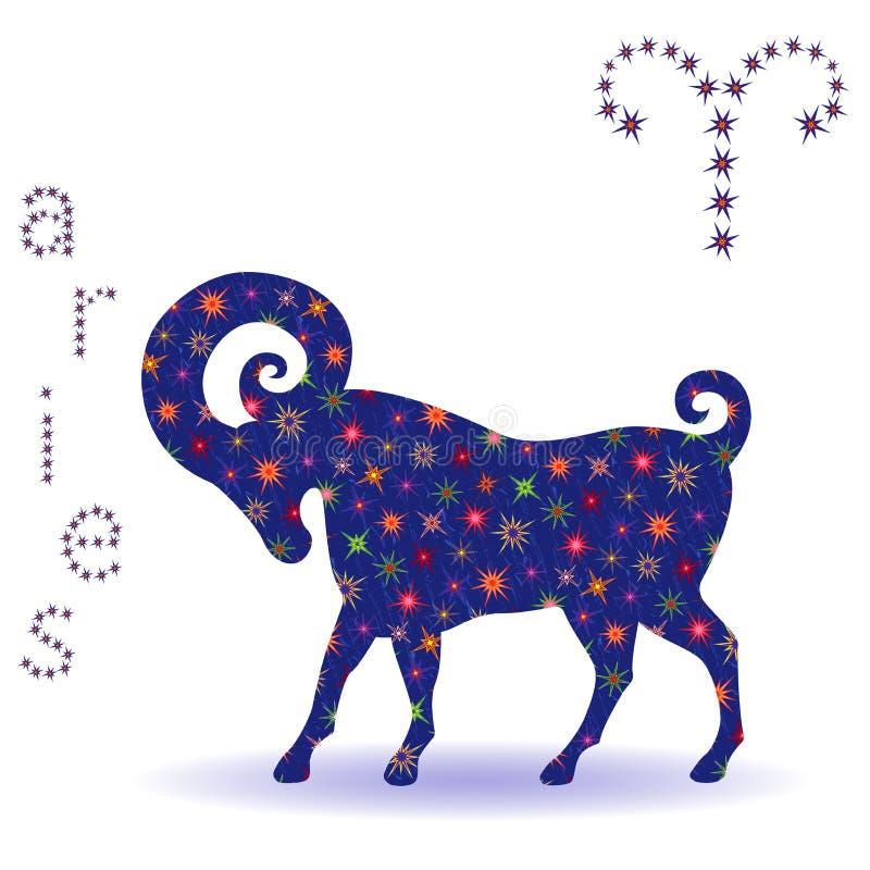 Estêncil do Áries do sinal do zodíaco ilustração do vetor