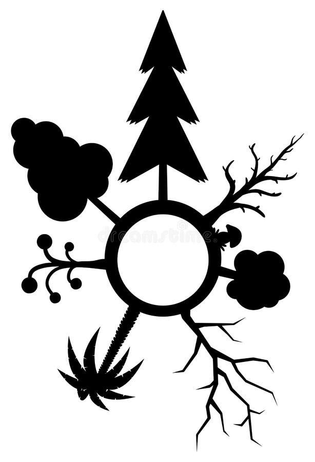 Estêncil do círculo da variedade das árvores ilustração do vetor
