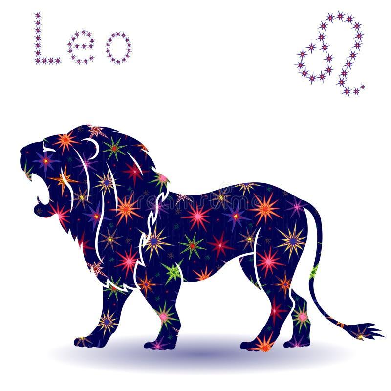 Estêncil do Leão do sinal do zodíaco ilustração royalty free