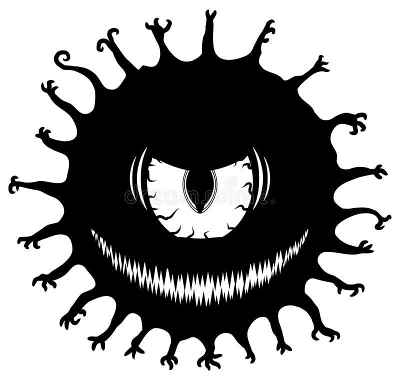 Estêncil do monstro do olho mau ilustração royalty free