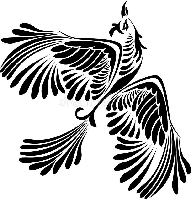 Estêncil do pássaro da fantasia ilustração royalty free