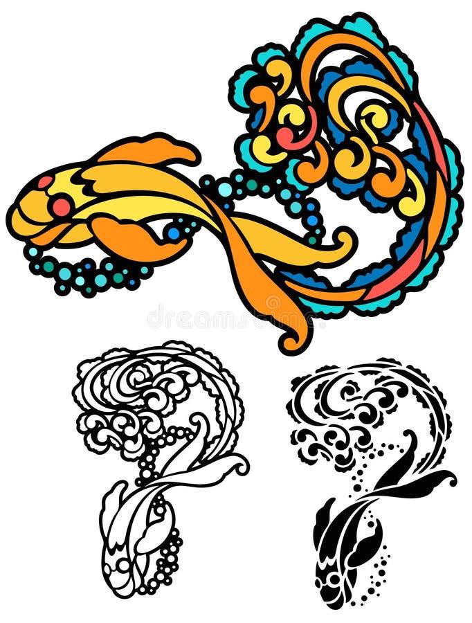 Estêncil do peixe dourado ilustração stock