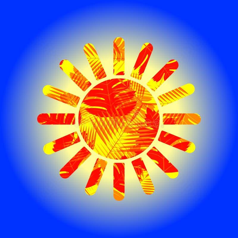Estêncil do sol, com as folhas alaranjadas no lado, em um fundo azul ilustração royalty free