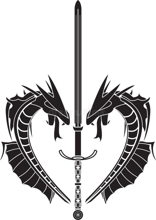 Estêncil dos dragões e da espada medieval ilustração royalty free
