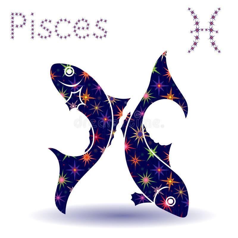 Estêncil dos Peixes do sinal do zodíaco ilustração stock