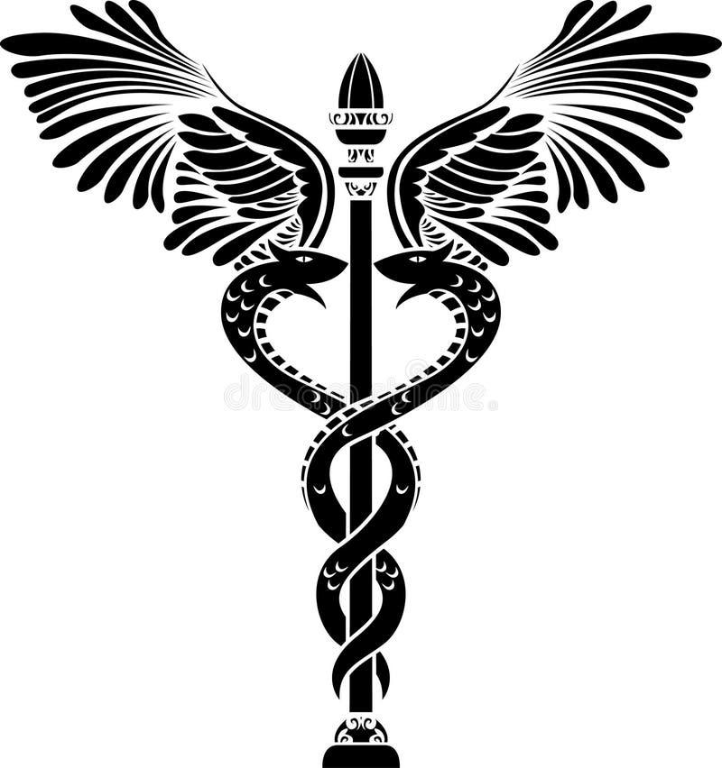 Estêncil médico do caduceus do símbolo ilustração do vetor