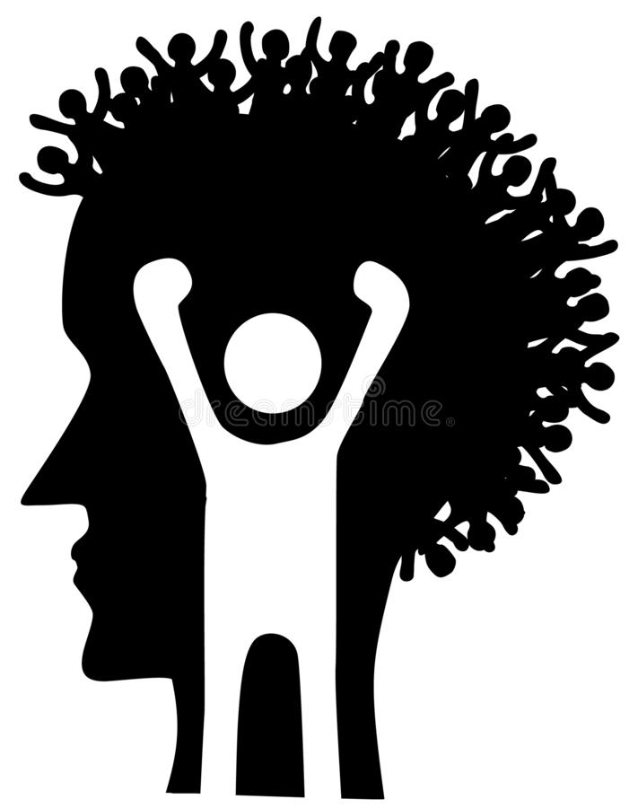 Estêncil principal do perfil dos povos ilustração stock