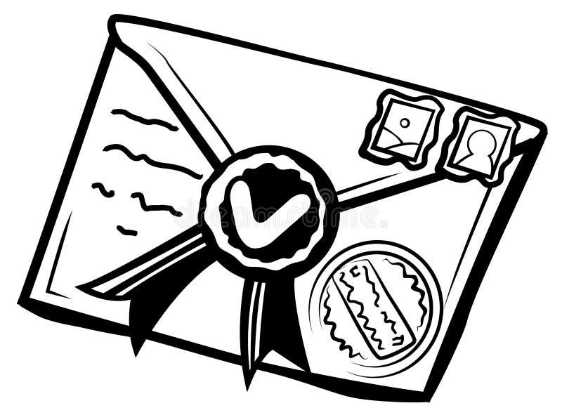 Estêncil selado do envelope da letra ilustração royalty free