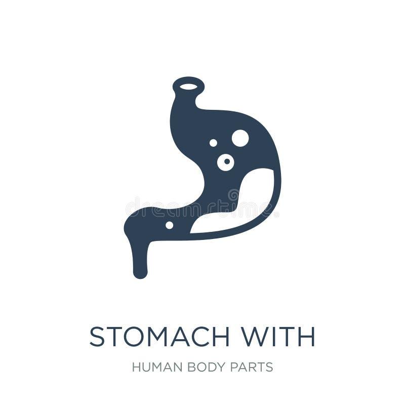 estómago con el icono de los líquidos en estilo de moda del diseño Soporte con el icono de los líquidos aislado en el fondo blanc libre illustration