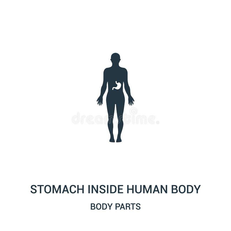 estómago dentro del vector del icono del cuerpo humano de la colección de las partes del cuerpo Línea fina estómago dentro del ve stock de ilustración