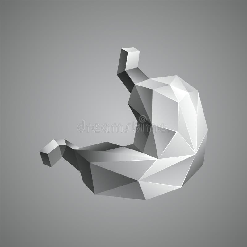 Estómago en estilo del polígono 3D ilustración del vector
