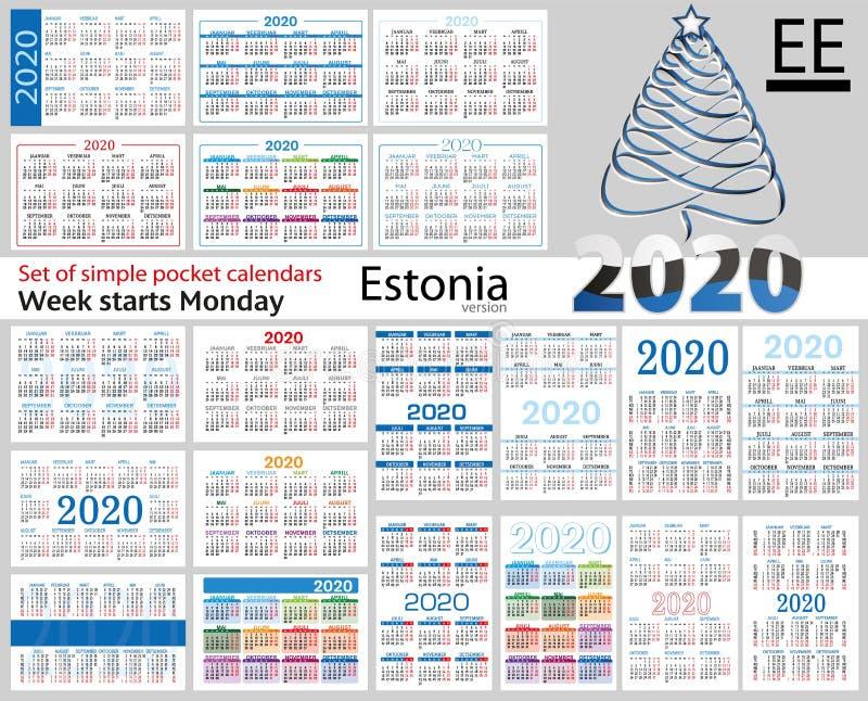 Estônia ajustou-se de calendários do bolso para 2020 ilustração do vetor