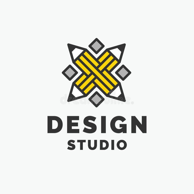 Estúdio conceptual do projeto do logotipo e da etiqueta Gráficos de vetor ilustração do vetor