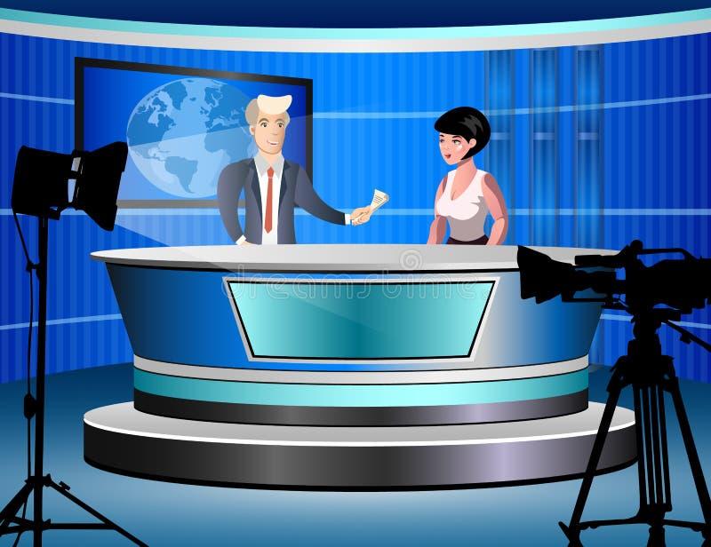 Estúdio da notícia com journalistas ilustração stock