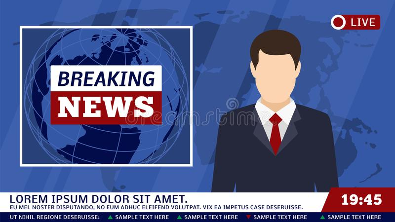 Estúdio da notícia da tevê com radiodifusor e quebra da ilustração do vetor do fundo do mundo ilustração stock