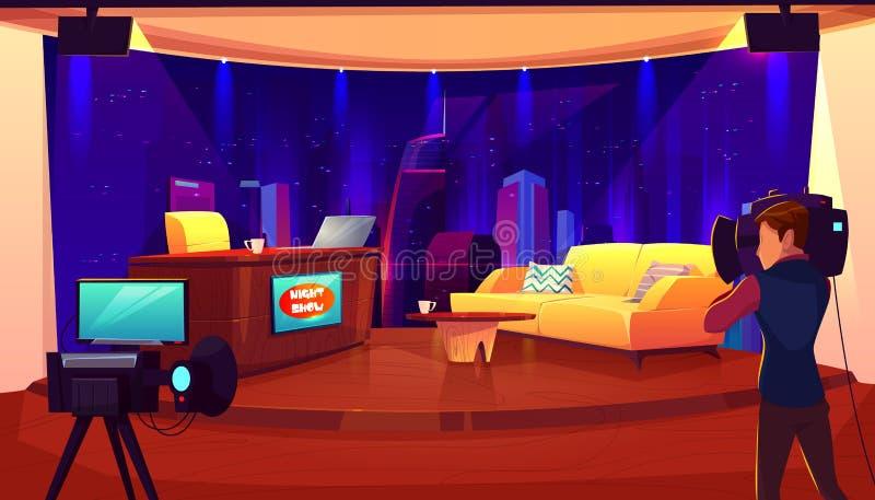 Estúdio da televisão com câmera, sala de transmissão ilustração stock