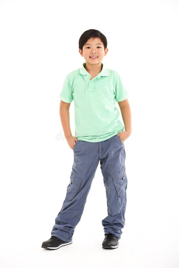 Estúdio disparado do menino chinês imagens de stock