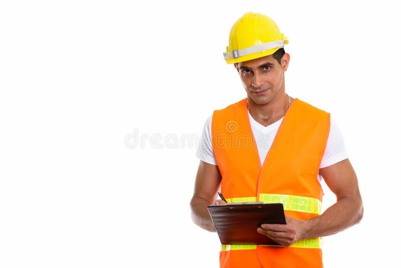 Estúdio disparado do wr persa muscular novo do trabalhador da construção do homem foto de stock