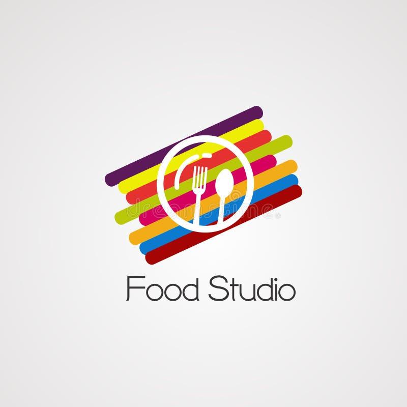 Estúdio do alimento com vetor, ícone, elemento, e molde digitais coloridos do logotipo do conceito para a empresa ilustração royalty free
