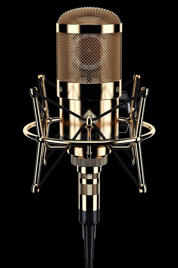 Estúdio do microfone do ouro ilustração royalty free