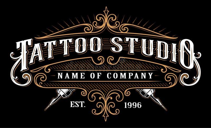 Estúdio emblem_2 da tatuagem do vintage para o fundo escuro ilustração stock