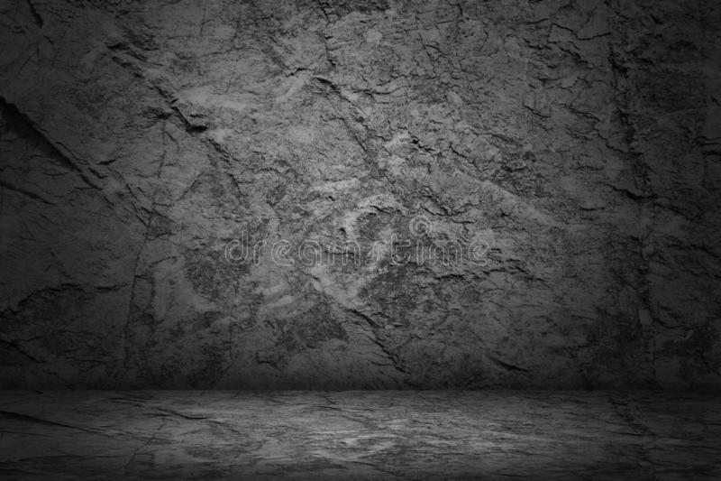 Estúdio escuro e preto e fundo vazio de pedra do sumário da sala fotos de stock