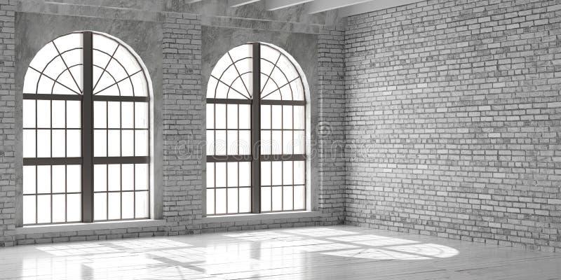 Estúdio ou escritório vazio branco no estilo do sótão foto de stock