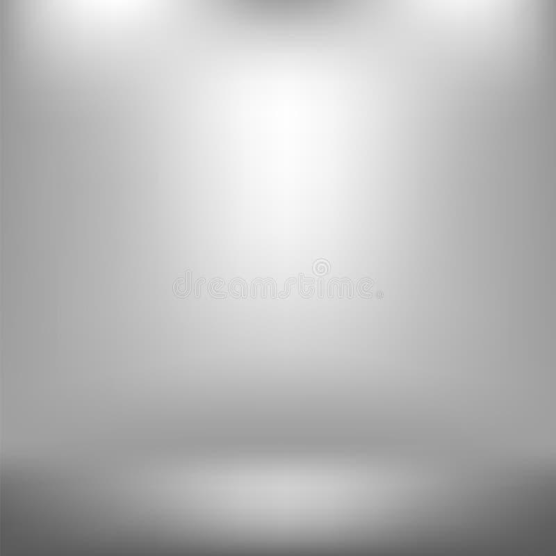 Estúdio vazio Gray Abstract Background claro com efeito radial do inclinação Parede e assoalho lisos ilustração royalty free