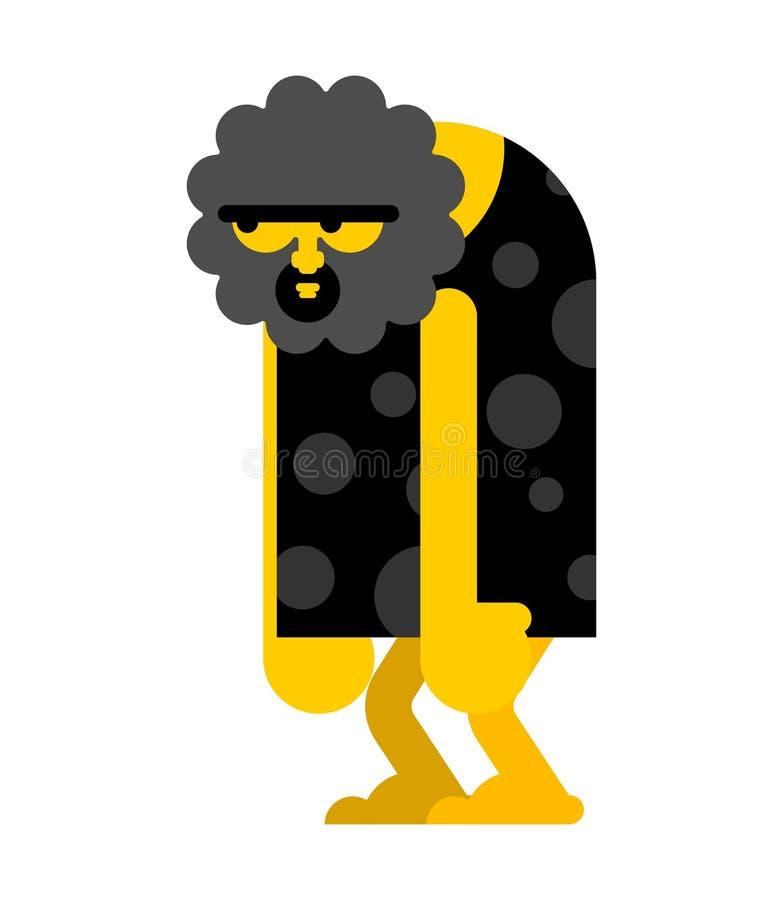 Estúpido del hombre de las cavernas aislado Hombre prehistórico embotado El hombre antiguo piensa stock de ilustración