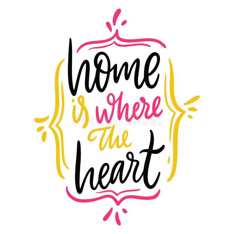 Est? donde el hogar el coraz?n Letras dibujadas mano del vector Aislado en el fondo blanco Frase de la motivaci?n libre illustration