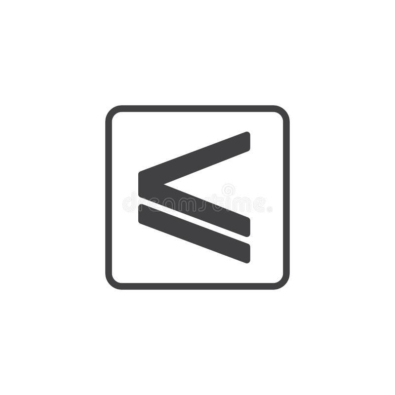Est inférieur ou égal à l'icône de vecteur illustration de vecteur