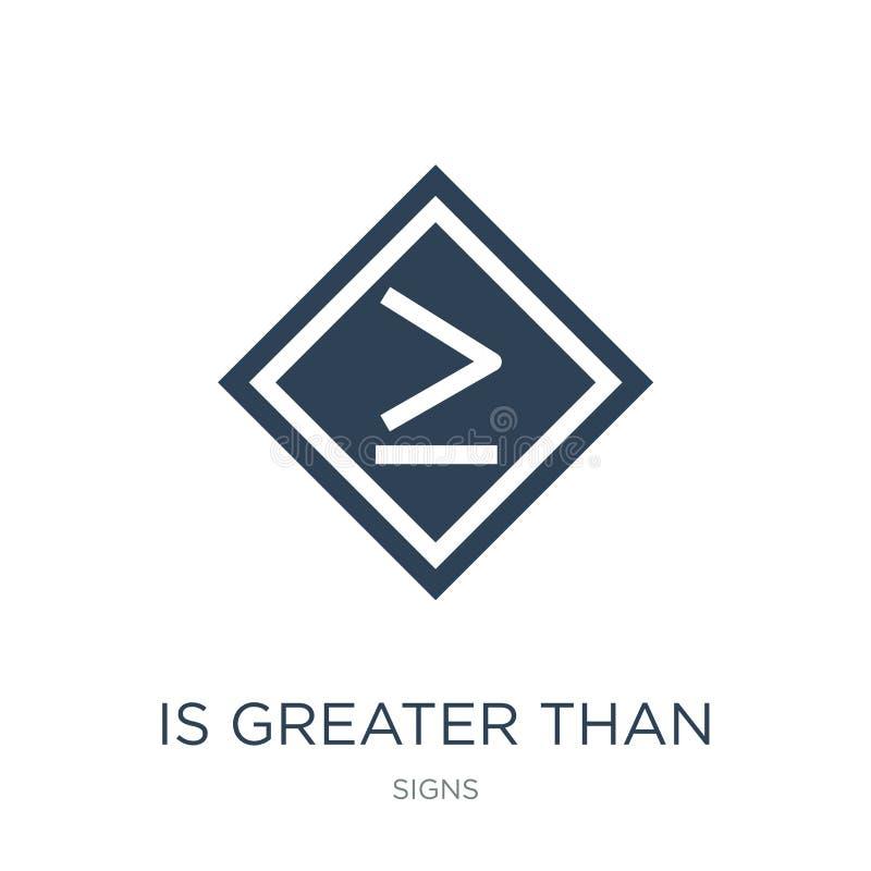 est supérieur ou égal à l'icône dans le style à la mode de conception est supérieur ou égal à l'icône d'isolement sur le fond bla illustration stock