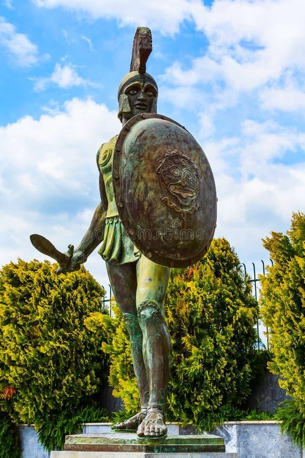 Est?tua de Leonidas, Sparta, Gr?cia fotografia de stock