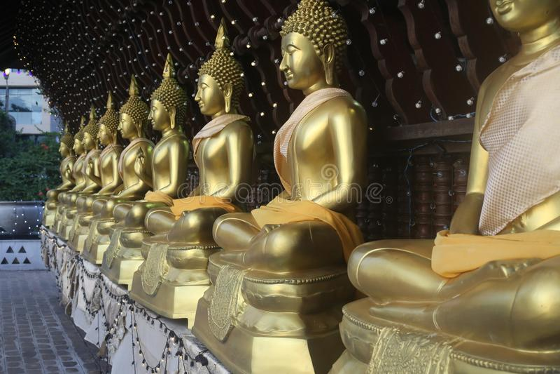 Est?tuas da Buda em Seema Malaka Temple, Colombo, Sri Lanka Gangarama, dourado fotos de stock