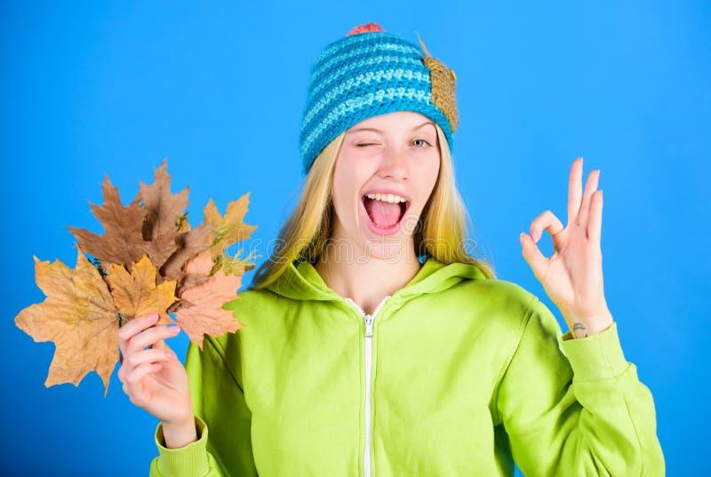Estação ativa do outono do lazer e do resto Momento brilhante Folhas caídas posse feitas malha do chapéu do desgaste de mulher Sk fotografia de stock