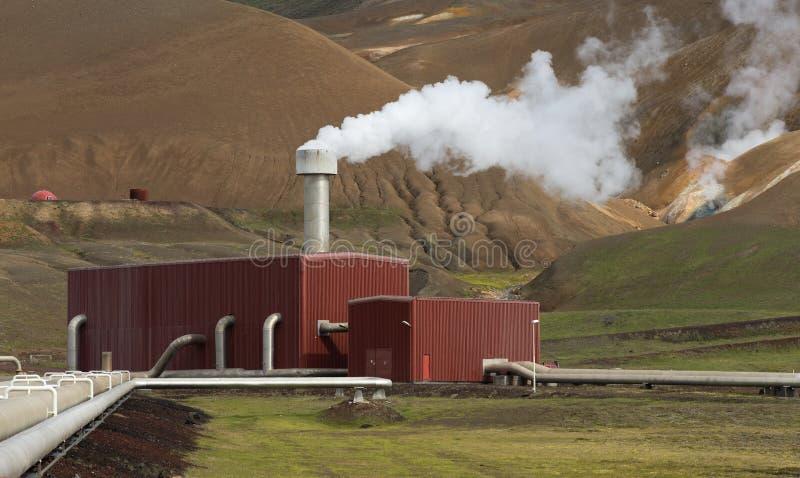 Estação da energia do poder geotérmico em Islândia fotografia de stock