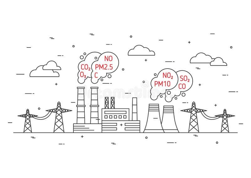 Estação da energia elétrica e poluição atmosférica tóxica ilustração royalty free