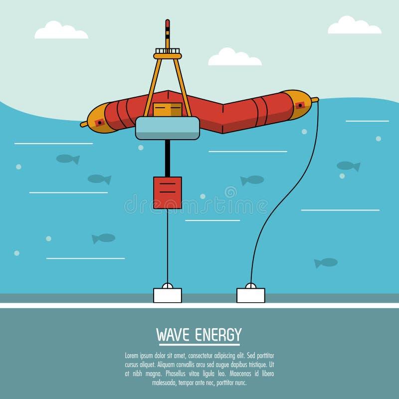 Estação da onda da fonte de energia alternativa do fundo da paisagem do mar da cor ilustração do vetor