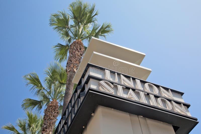 A estação da união assina dentro o LA foto de stock