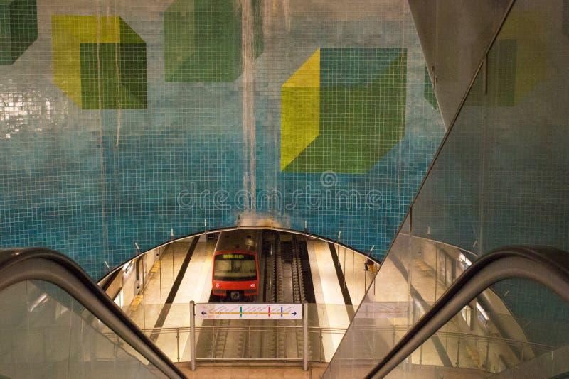 Estação de Ameixoeira, metro de Lisboa, Portugal fotografia de stock royalty free