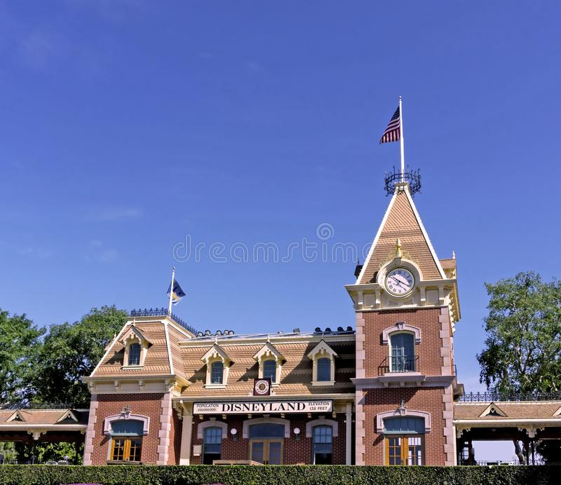 Estação de caminhos-de-ferro de Disneylândia foto de stock