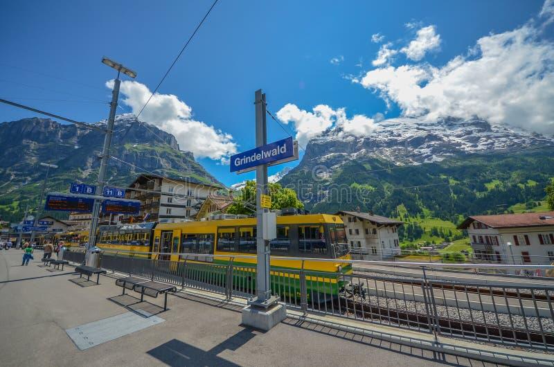 Estação de caminhos-de-ferro de Grindelwald, Suíça imagens de stock royalty free
