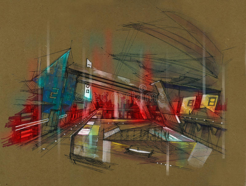 Estação de caminhos-de-ferro futurista da cidade do metro ilustração do vetor