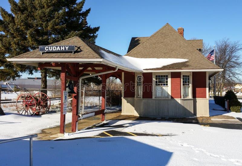 Estação de caminhos-de-ferro histórico em Cudahy, Wisconsin fotos de stock royalty free