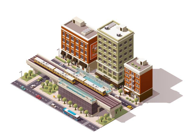 Estação de caminhos-de-ferro isométrico da cidade do vetor ilustração stock