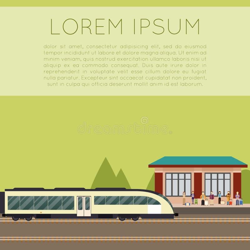 Estação de caminhos-de-ferro suburbano ilustração do vetor