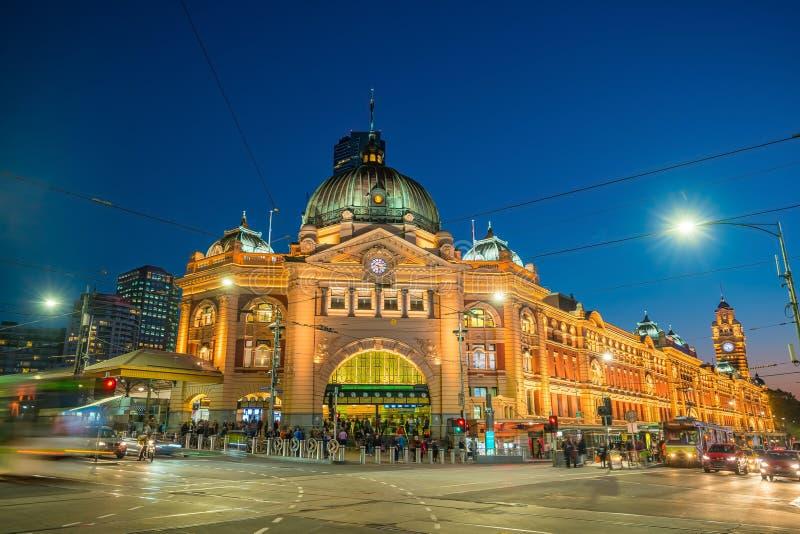 Estação de caminhos de ferro da rua do Flinders de Melbourne em Austrália fotos de stock
